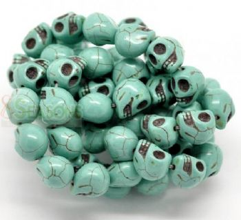 20 Turquoise (Howlite) Skull Head Beads  TURQUOISE